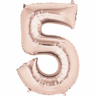 Mini Number 5 Rose Gold Foil Balloon 14in - Air fill only