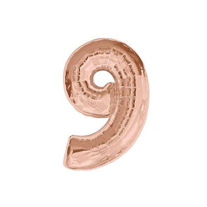 Mini Number 9 Rose Gold Foil Balloon 14in - Air fill only