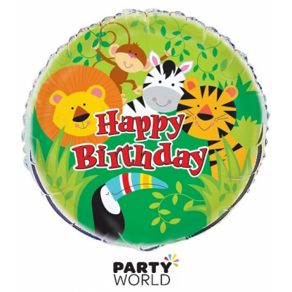 Jungle Animals Happy Birthday Party Foil Balloon