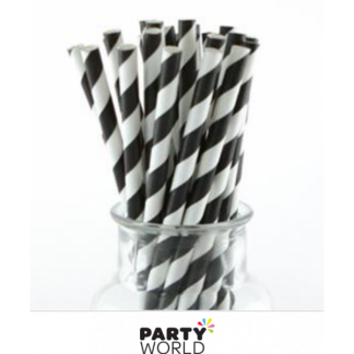 Paper Stripe Straws - Black (12)