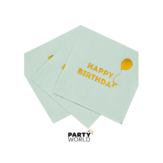 It's Your Birthday Light Blue/Gold Napkins (16)