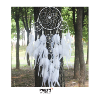 White Indian Dream Catcher With Feathers