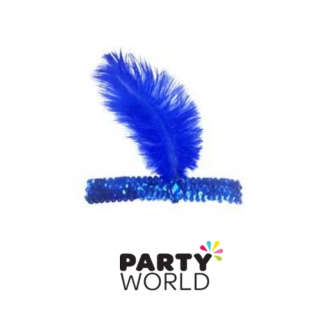 Feather Headband Blue
