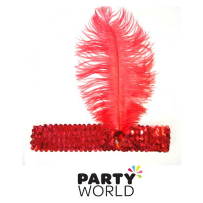Headband Feather Red