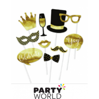 Black and Gold Celebration Photo Booth Props