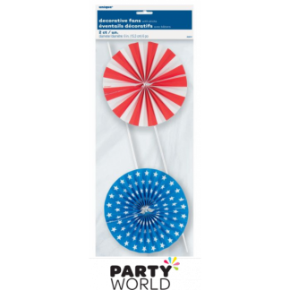 Red, White, Blue Decorative Fans (2/Pack)