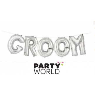 Silver Groom Foil Balloon Banner (air fill)