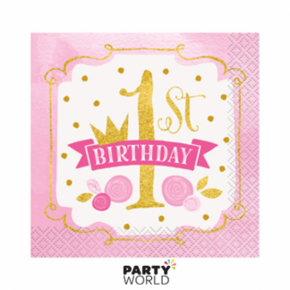 Pink & Gold 1st Birthday Luncheon Napkins (16)