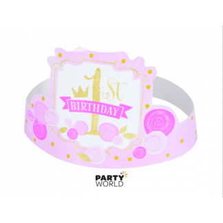 Pink & Gold 1st Birthday Hats (6)
