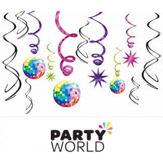 Disco Fever Swirl Decorations (12pc)