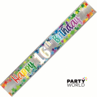 Happy 16th Birthday Rainbow Stars Foil Banner 2.74m