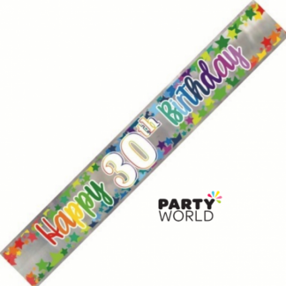 Happy 30th Birthday Rainbow Stars Foil Banner 2.74m