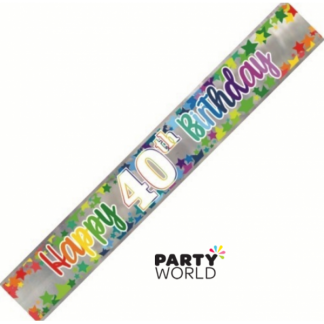 Happy 40th Birthday Rainbow Stars Foil Banner 2.74m