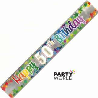 Happy 50th Birthday Rainbow Stars Foil Banner 2.74m