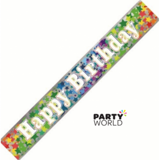 Happy Birthday Rainbow Stars Foil Banner 2.74m