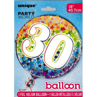 Happy 30th Birthday Rainbow Stars Foil Balloon (18in)
