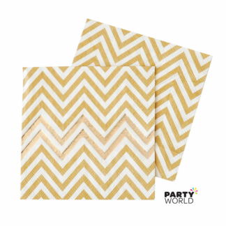 Gold Foil Chevron Luncheon Napkins (20)