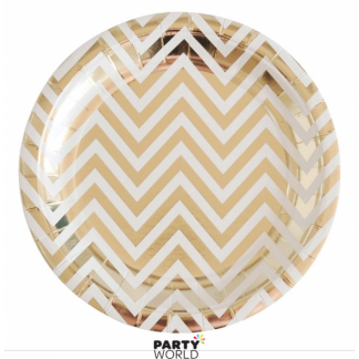 Gold Foil Chevron Paper Plates 9in (8)