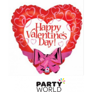 Happy Valentine's Day Foil Heart Balloon with Pink Bow - 55 cm