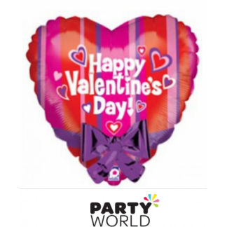 Happy Valentine's Day Foil Heart Balloon with Purple Bow - 55 cm