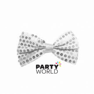 White Sequin Bowtie