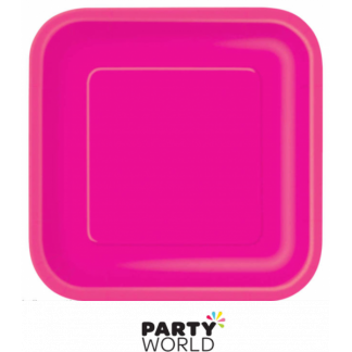 Hot Pink Square 9in Paper Plate (14)