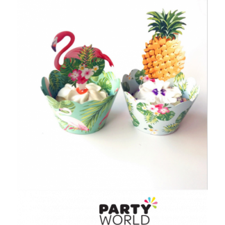 Tropical Cupcake Wrappers and Toppers (12 wraps with 12 toppers)