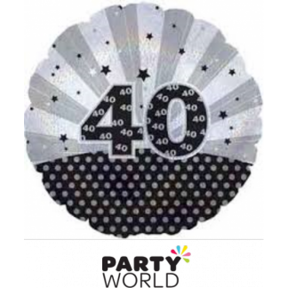 40th Birthday Silver and Black Foil Balloon