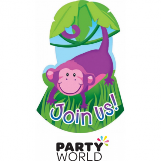 Monkey Jungle Animals Party Invitations (8)