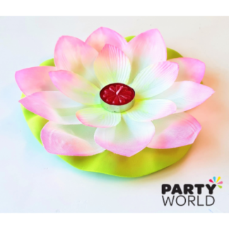 Water Lily Tea Light Candle Decoration - Pink