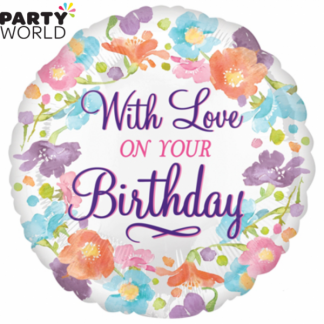 With Love on Your Birthday Flower Foil Balloon