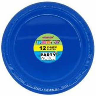 Royal Blue Plastic Plates 7in (12)