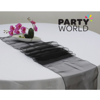 Black Organza Table Runner / Chair Tie (18 x 270 cm) Straight Cut