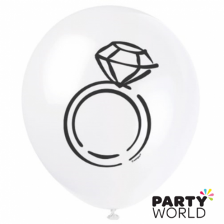 Ring White Latex Balloons (8)