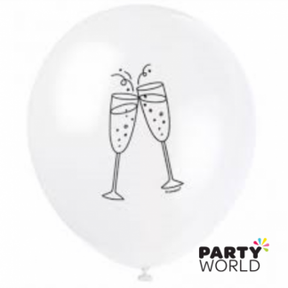 Champagne Glasses White Latex Balloons (8)