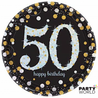 "Sparkling Celebration 50th Happy Birthday Plates 9"" (8)"