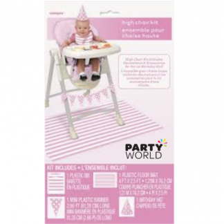 Polka & Stripes Pink High Chair Kit
