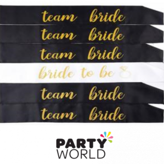 "Black ""Team Bride"" & White ""Bride To Be"" Sashes Set (6)"