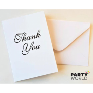 White Thank You Cards & Envelopes (8)