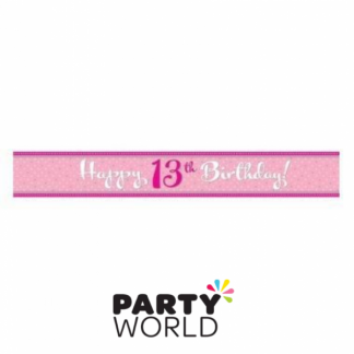 Happy 13th Birthday Perfectly Pink Foil Banner 9ft