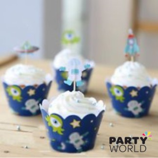Space Alien Cupcake Wrappers and Toppers (12)