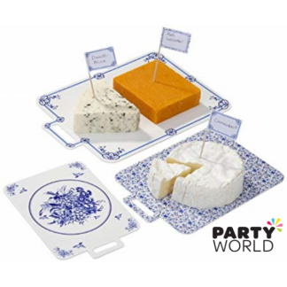 Blue Party Porcelain Cheeseboards & Flags Set