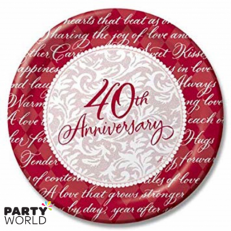 40th Ruby Anniversary Paper Plates 7inch