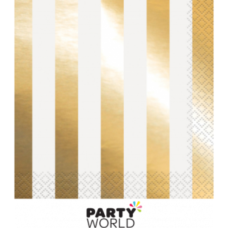 Gold Foil Stripes Beverage Napkins (16)