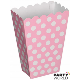 Scalloped Edge Pink Dot Treat Boxes (8)