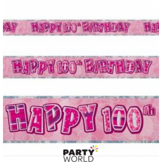 Glitz Birthday 100th Banner Pink/Silver