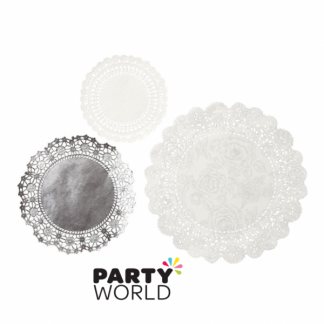 Party Porcelain White & Silver Doilies (24)