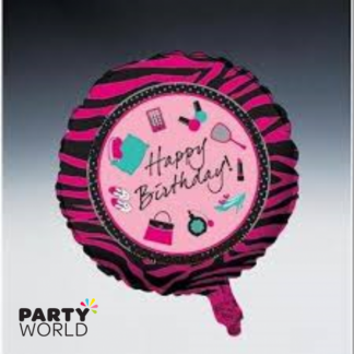 Pink Zebra Party Happy Birthday Foil Baloon