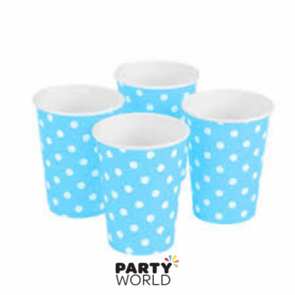 Aqua Blue Polka Dot Paper Cups (8)