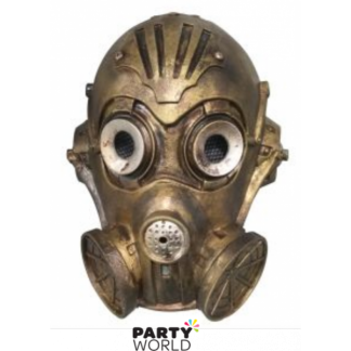Steampunk Full Face Rubber Mask Gold